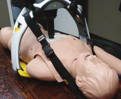 A DEMONSTRATION of a LUCAS Chest Compression System is shown in the training room of the Choctaw County Ambulance Authority earlier this month. The system works hands free once started. Photo Courtesy / Sonya Campbell
