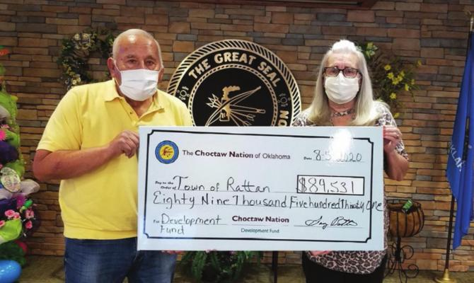 Choctaw Nation Councilmember Jack Austin, Sr. presented Tammy Lawless, Mayor of Rattan, a check for $89,531 which will be used on several projects to enhance the town of Rattan. Photo Courtesy / Choctaw Nation