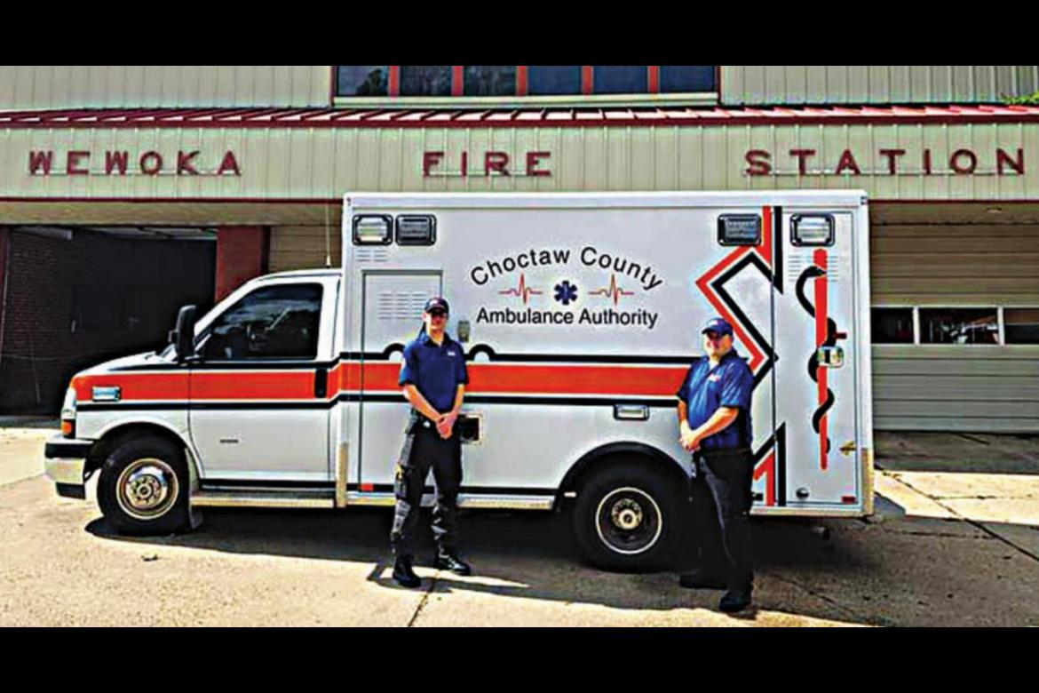 CHOCTAW COUNTY AMBULANCE Authority EMT-Basics Elijah Hubbard and Dalton Mahoney stand outside the Wewoka Fire-EMS station, where they assisted the community following a COVID-19 outbreak.